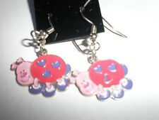 Valentine ladybug enamel earrings-wires