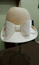 Vintage hat bucket cloche straw 3D Bow Nuteral Designer Lilly Dache Dachettes