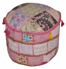 """22"""" Vintage Handmade Pink Ottoman Pouf Cover Round Footstool Seat Covers Cotton"""
