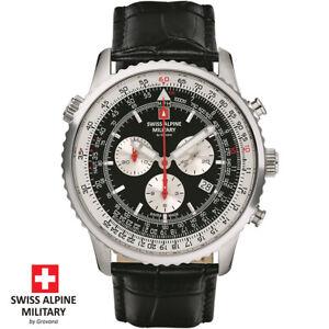 Swiss Alpine Military by Grovana 7078.9537 silver black Leather Men's Watch NEW