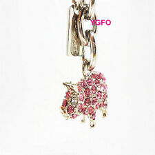 NEW Coach Pink Pig Pave Swarovski Crystal Key Ring Chain Fob Purse Charm Animal