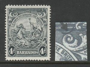 Barbados 1938-47 4d Black with Curved line at top right SG 253db Mint.