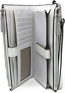 Michael Kors Jet Set Travel Large Double-Zip Wristlet White Leather / Silver FS