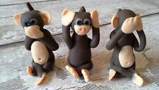 3 WISE POLYMER CLAY MONKEYS -SEE,HEAR AND SPEAK NO EVIL