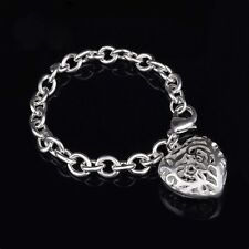 """NEW 925 Silver Bracelet Heart Chain Link 7.5"""" Fashion Gift Lobster Clasp US"""