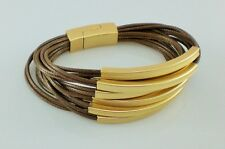Modern Brown Multi Strands & Gold Tube Beads Bracelet Lagenlook Bangle
