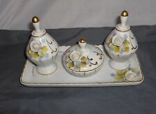 Ucaqco 7 Pc White Roses Porcelain Vanity Set Perfume Bottles Tray Trinket Box