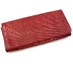 COLE HAAN Women's Red Leather Woven Braided Fold Over Envelope Clutch Purse