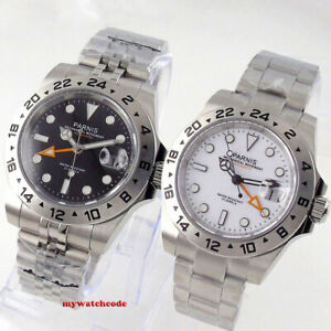 new 40mm PARNIS black dial GMT automatic mens watch fixed bezel jubilee strap