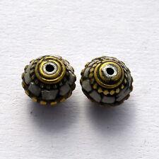 BDS233 Tibetan Nepalese Artisan Handmade Brass Lapis White Howlite 2 Beads Tibet