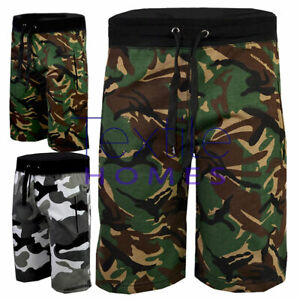 Mens Camo Shorts Zip Joggers Sport Camouflage Jogging Bottom Track Gym Shorts