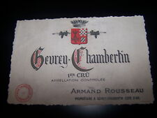 etiquette vin Gevrey Chambertin 1er cru Armand Rousseau wine label wein etikett