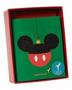 Papyrus Christmas Cards Boxed Mickey Mouse Holiday Glitter Ornament 20-Count NEW