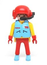 Playmobil Figure Motorcycle News Reporter Cameraman Red Helmet Microphone 3847