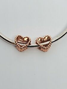 2 Rose Gold Beaded Heart Spacer Charms Add On Sterling Silver Pandora Bracelet