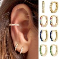 Women Silver Gold Round Crystal Hoop Ear Stud Earrings Wedding Bridal Jewelry