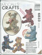 """M 6833 sewing pattern 15"""" BEAR DOLLS of 11 world countries sew UNCUT Animal TOYS"""