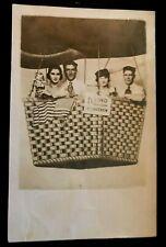 RPPC~Friends Hot Air Balloon ~Studio Photo~USA Flag~Doll~ old~Postcard-p591