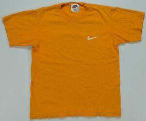 Rare VTG NIKE Embroidered Swoosh T Shirt 90s 2000s White Tag USA Orange Youth M