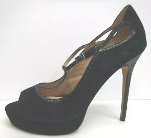 Charles David Size 9.5 Black Suede Open Toe Heels New Womens Shoes