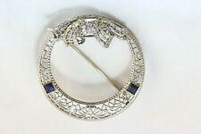 Vintage 14K White Gold Brooch/Pin w/ 0.25ct Diamond (GH, SI1) & Sapphires