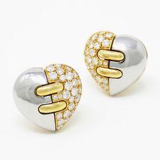 NYJEWEL Bvlgari 18K Gold Heart Shape 1.7ct Diamond Clip Earrings Original Box