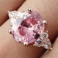 Gorgeous Women Pink Crystal Gemstone Rings Rose Gold Filled Wedding Jewelry Gift