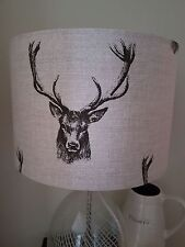 FABRIC DRUM LAMPSHADE 30cm FRYETTS STAG HEAD DEER BUCK COUNTRY COTTAGE FARM