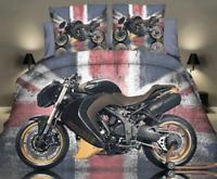 3D Duvet Quilt Cover Car Motorbike Bedding Set Pillowcases Single Double 4pcs ✅