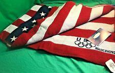 FARIBAULT WOOLEN MILLS~2002 CE USA Flag Olympic Jacquard Woven Wool Throw NIB/WT