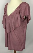 Pleione Red White Striped Flounce V-Neck Back Ruffles Top Blouse Shirt Size M