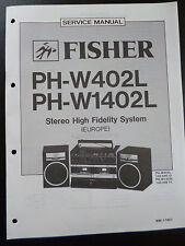 ORIGINALI service manual Fisher stereo alta fedeltà System ph-w402l 1402l