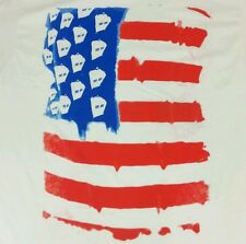 NWT NEW Doctor Who L Large American Flag White Licensed Graphic Tee T-Shirt