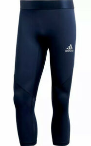 🩳 Adidas Mens LARGE Collegiate Navy Alphaskin Sports 3/4 Tights Fit A6