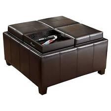 NFUSION Mason Bonded Leather Tray Top Storage Ottoman Espresso 220515