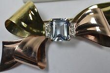 Tiffany &Co Deco 5ct+ Emerald Cut Aquamarine Diamond 14K Multi Gold Brooch Pin