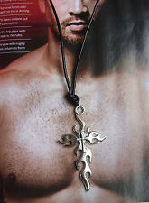 Men's Black Leather Cord Chain Dogtag, Necklace Fire Flame Cross Pendant Surfing