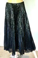 New NWT Ralph Lauren Purple Label Black Sequin Pleated Dress Long Midi Skirt 0