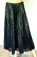 New NWT Ralph Lauren Purple Label Black Sequin Pleated Dress Long Midi Skirt 0