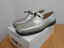 Russell & Bromley Bandex pale grey green patent leather loafers shoes 37.5 4.5