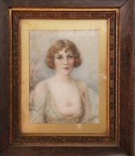 Hand Painted Victorian Miniature, Beautiful Woman, Mahogany Frame
