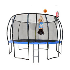 New 10Ft 305cm Trampoline With Safety Net And Free Basketball Hoop Ball Set