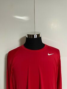 Nike Pro Long Sleeve Training Workout Shirt Mens Size XL Fitted Red Dri Fit