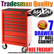 MAXIM 7 Drawer Roller Tool Chest Cabinet Toolbox Box Workshop Mechanic Red Steel
