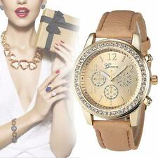 Latest Vogue Geneva Women Leather Stainless Steel Quartz Analog Wrist Watch