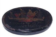 Early Toleware Tin Painted Oval Lidded Box Honesty Is The Best Policy