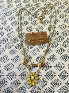 Lucky Brand Gold Tone Yellow Flower Layered Necklace And Matching Earring Sets