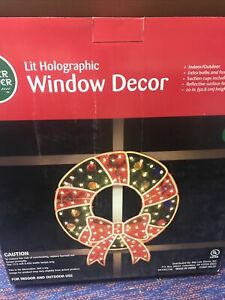 """lighted christmas window decorations 2 Snowflakes And One Wreath 20"""""""