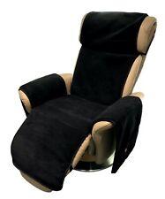 Sesselschoner Relaxsessel anthrazit/schwarz mit Taschen 100% Wolle/Kaschmir