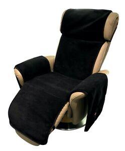 Sesselschoner Relax Sessel anthrazit/schwarz mit Taschen 100% Wolle/Kaschmir
